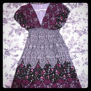Floral Black and Purple Dress 👗
